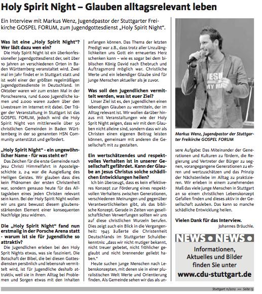 Interview über die Holyspiritnight mit der CDU